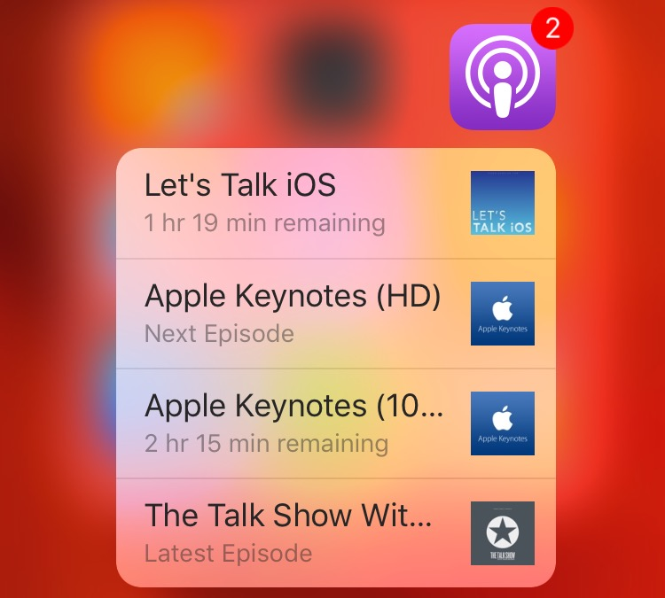 Accesos directos de la pantalla de inicio de iOS 9 Podcasts 3D Touch Captura de pantalla del iPhone 6s 001