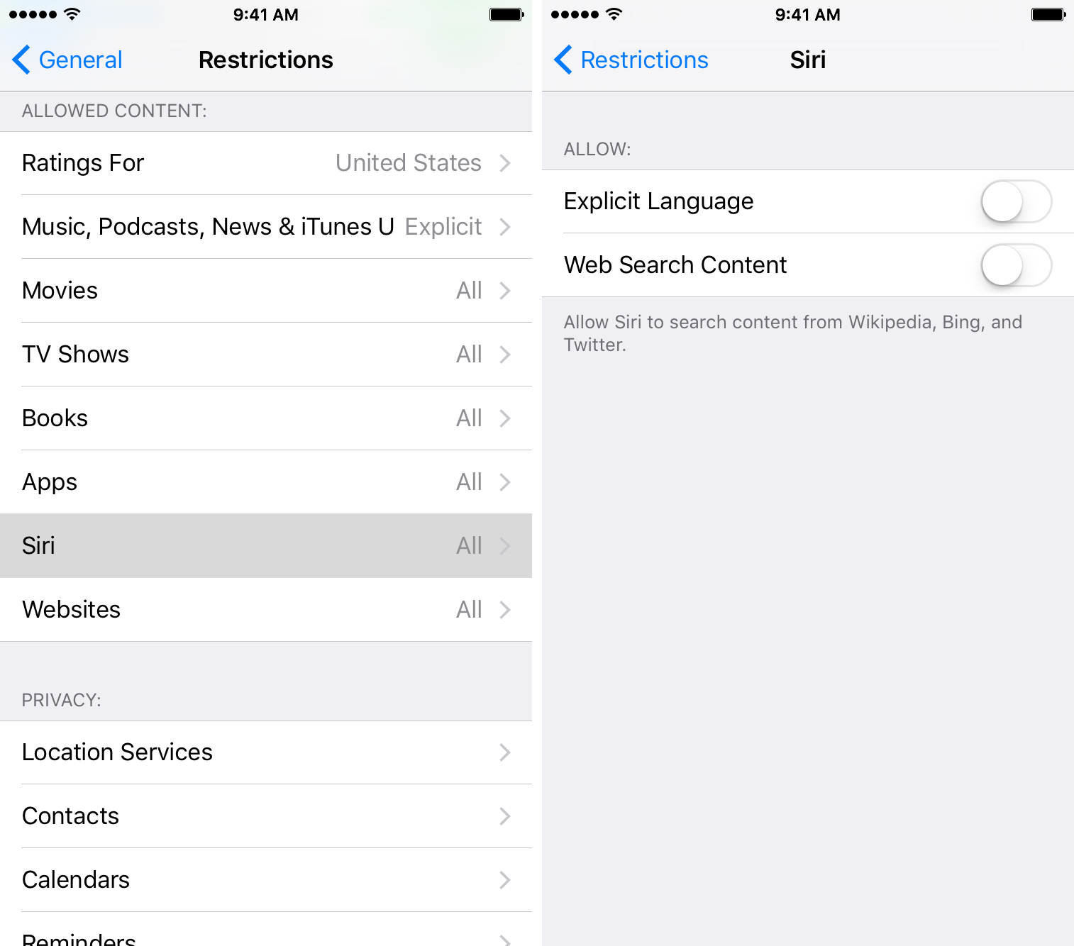 Disable mature language for Siri