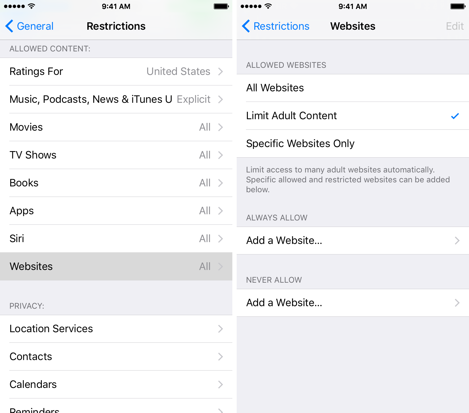 Disable adult web content in Safari