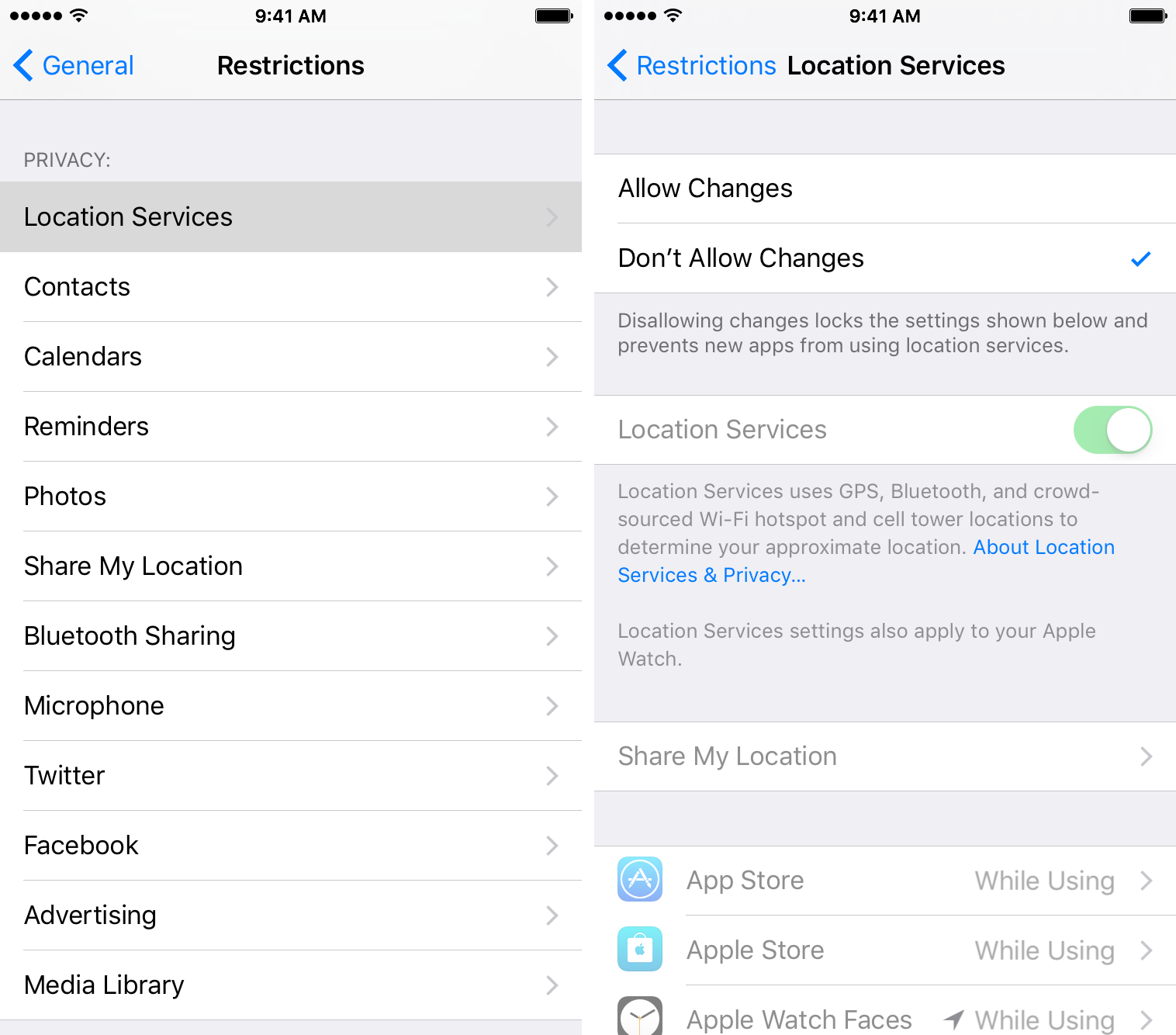 Don't allow changes to location services restrictions
