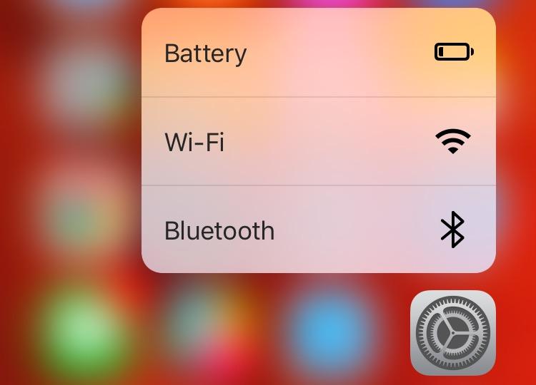 iOS 9 Settings 3D Touch Home screen shortcuts menu iPhone 6s screenshot 001