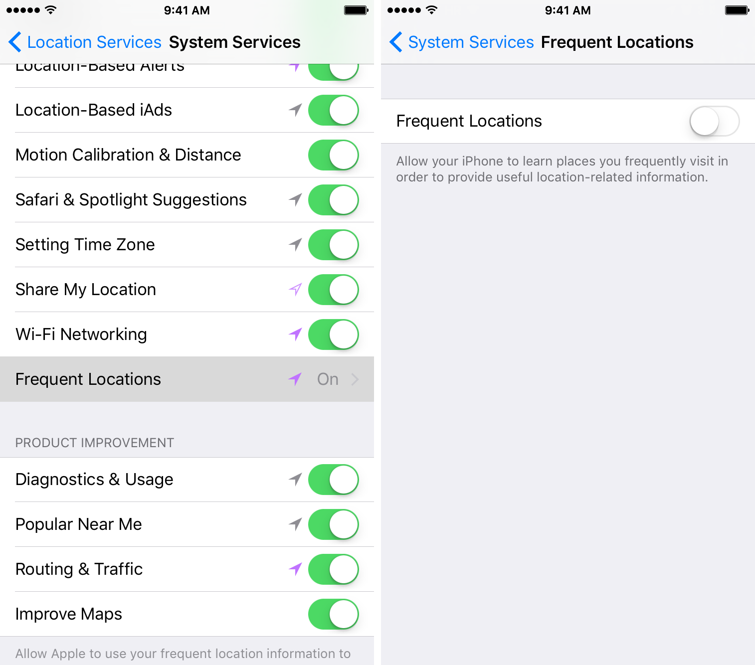 iOS 9 Settings Privacy Location Services Frequent Locations disabled iPhone screenshot 001