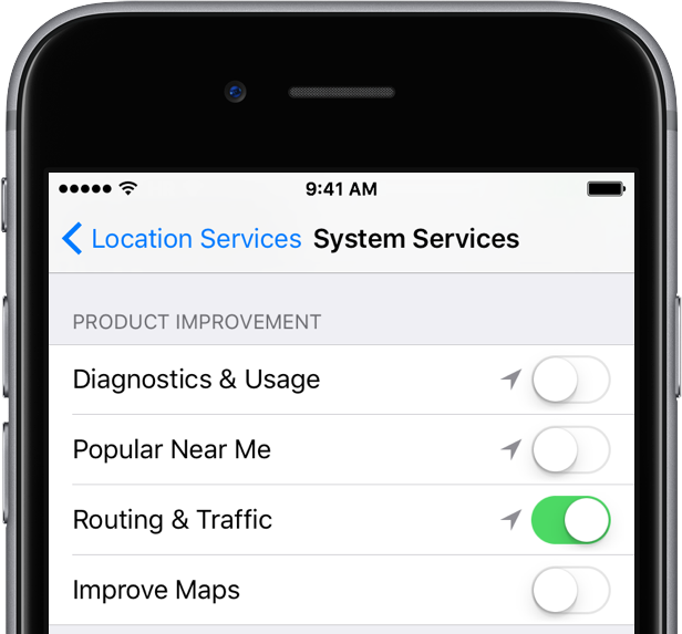 iOS 9 Settings Privacy Location Services Product Improvement iPhone screenshot 001