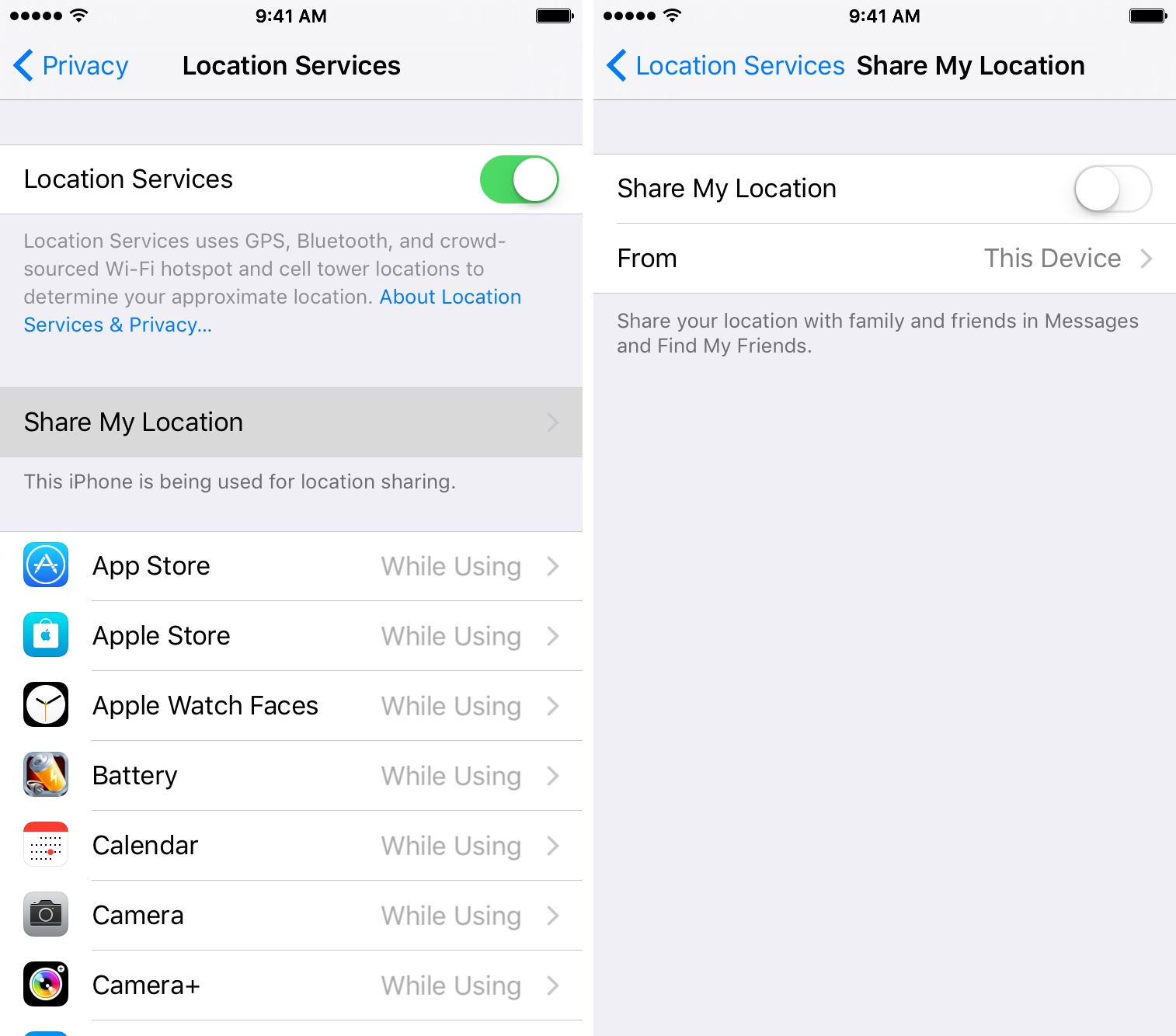 iOS 9 Settings Privacy Location Services Share My Location disabled iPhone screenshot 001
