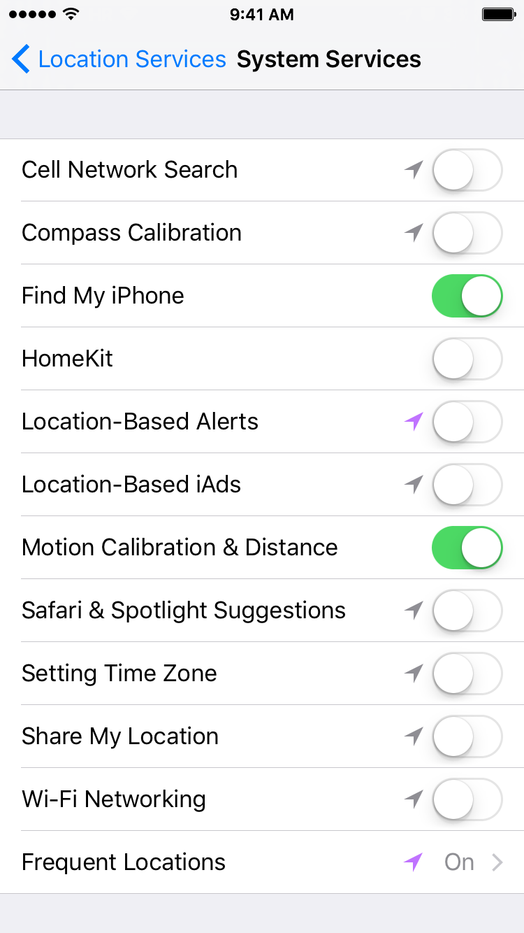 iOS 9 Settings Privacy Location Services System Services iPhone screenshot 001