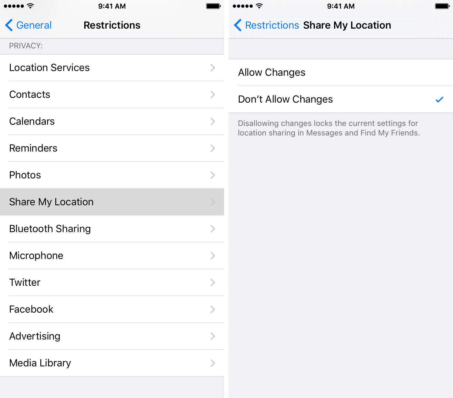 Don't allow changes to location settings