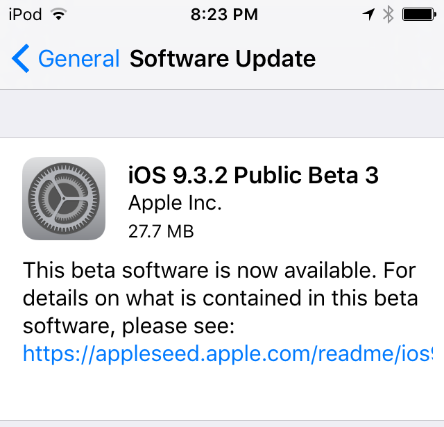 iOS 9.3.2 public beta 3 update prompt iPhone screenshot 001