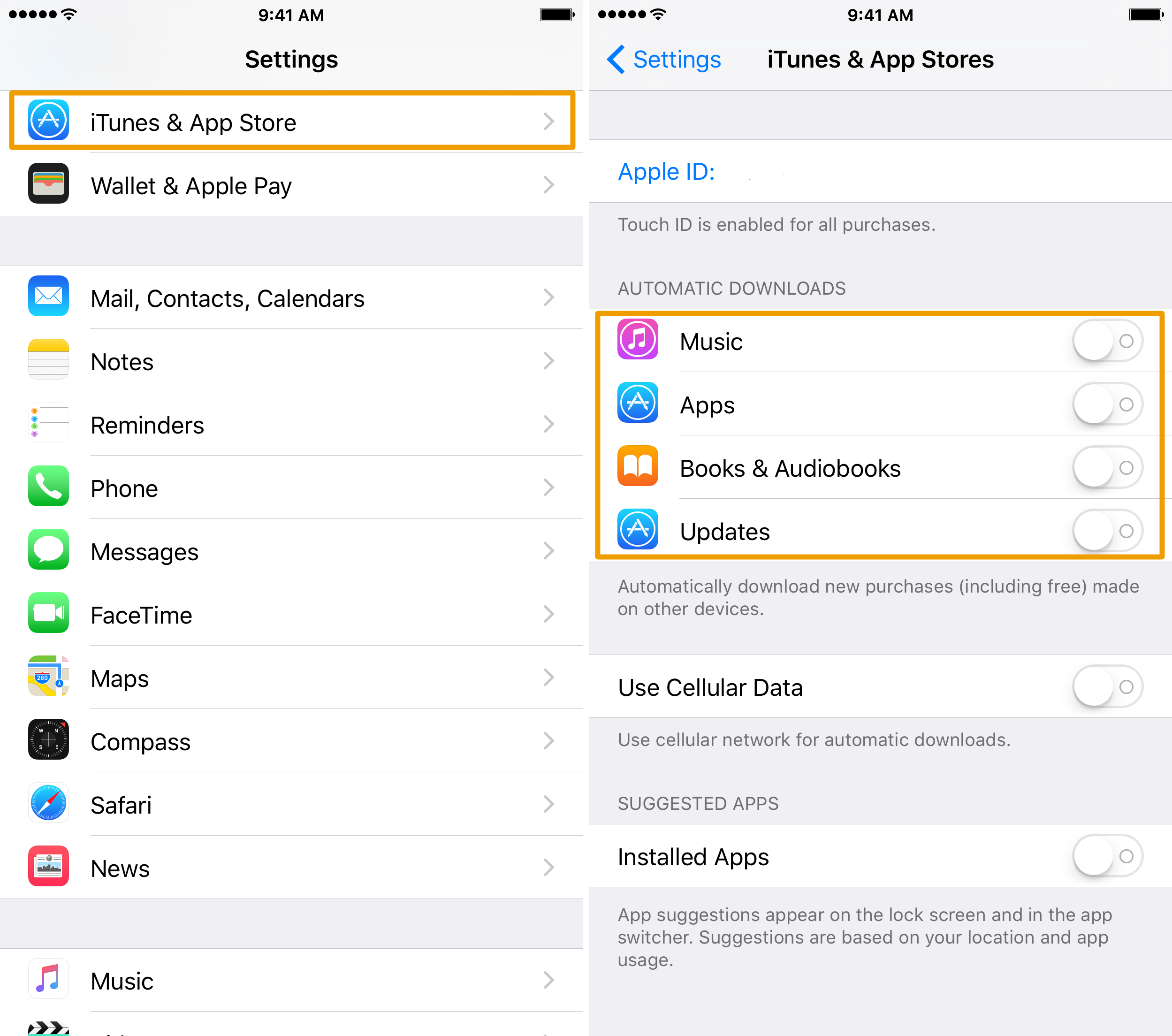 iPhone Automatic Downloads Settings