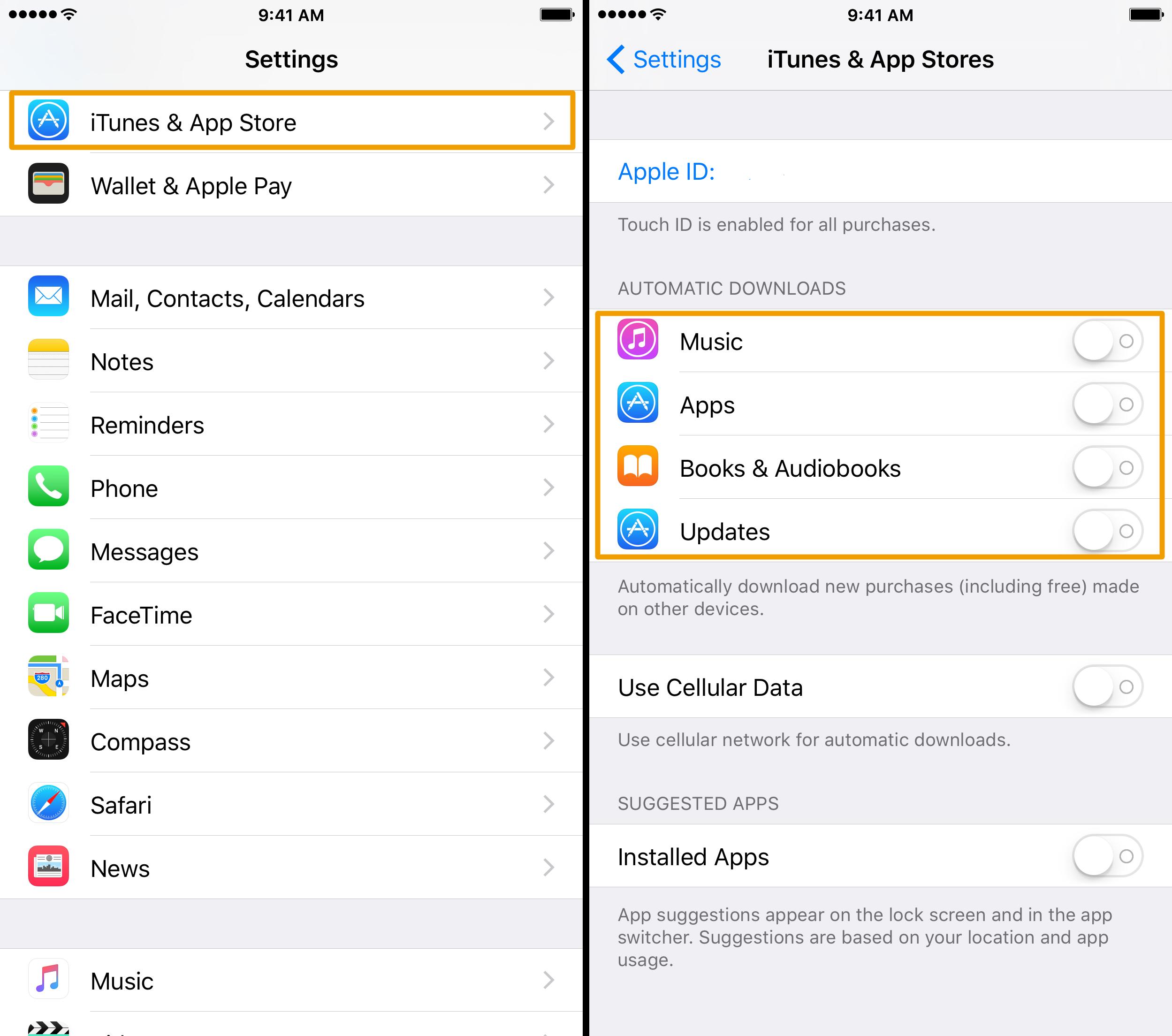 Configuración de descargas automáticas de iPhone