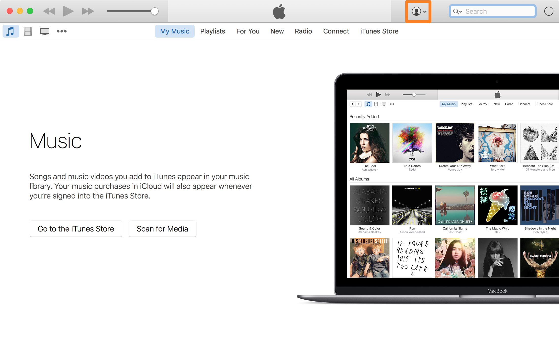 iTunes Account Button