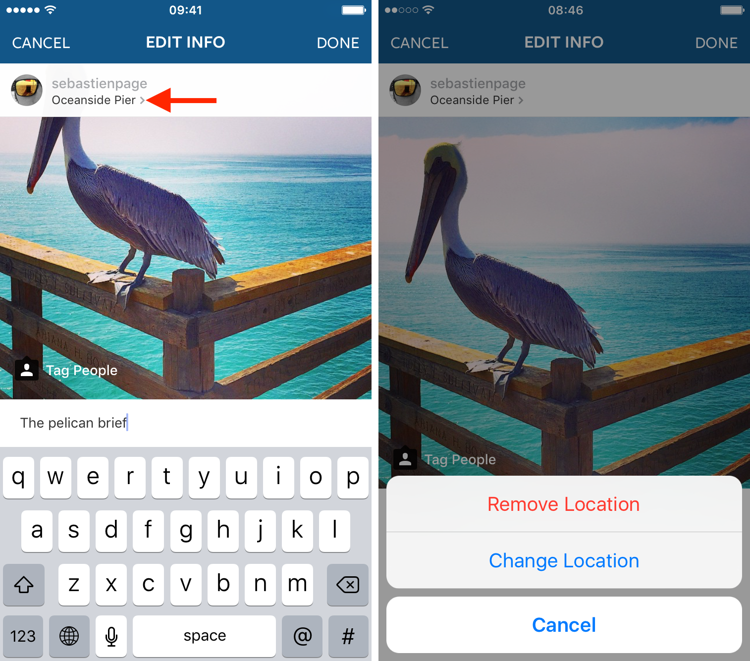 instagram remove location