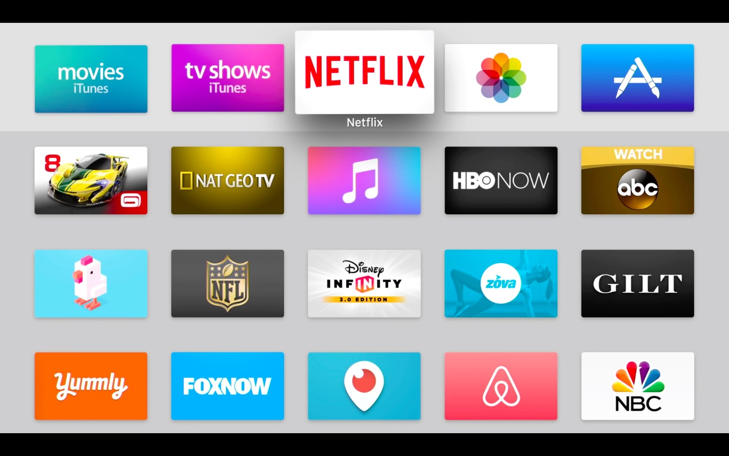 tvOS 9.2 Home screen Netflix icon selected Apple TV screenshot 001