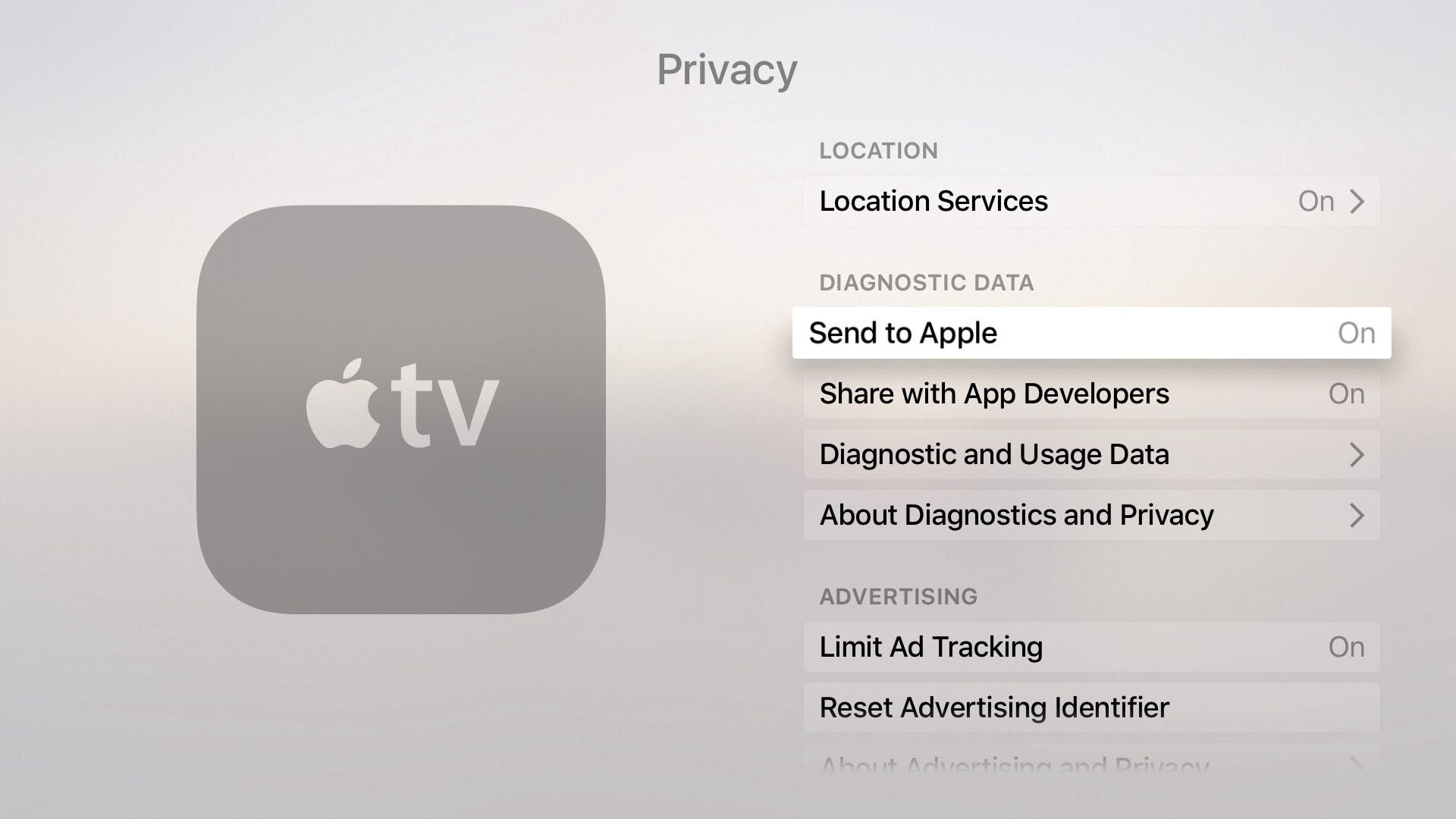 tvOS 9.2 Settings General Privacy Diagnostic data Apple TV screenshot 001