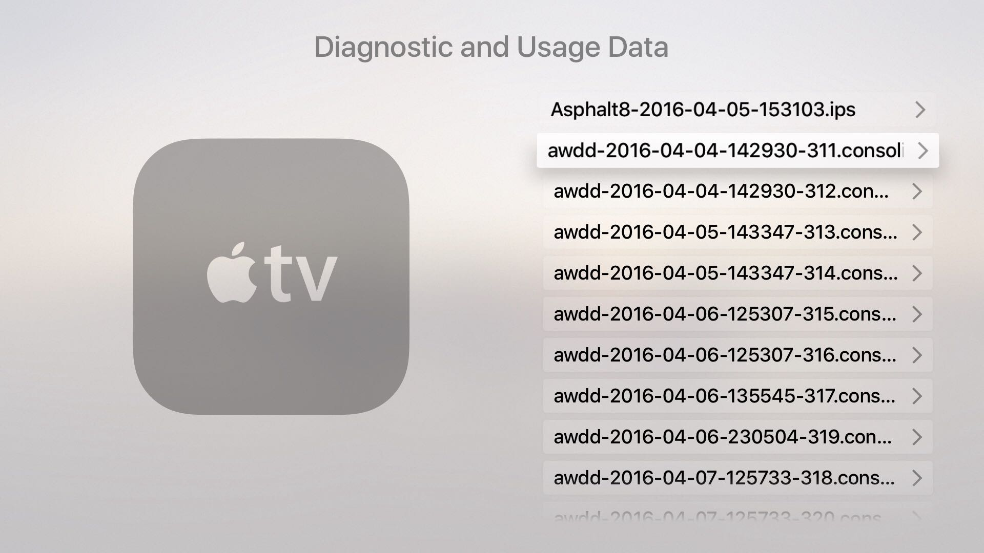 tvOS 9.2 Settings General Privacy Diagnostic data Apple TV screenshot 002