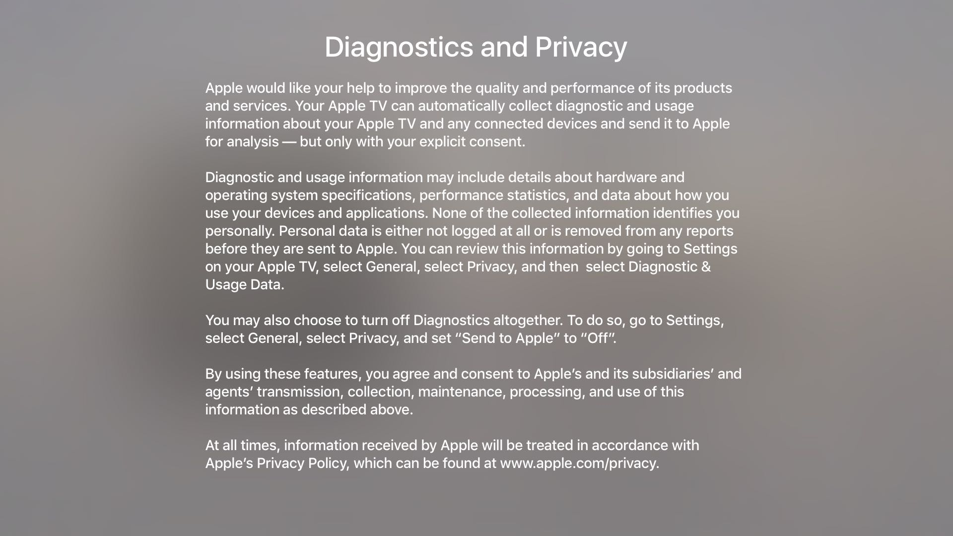 tvOS 9.2 Settings General Privacy Diagnostic data Apple TV screenshot 003