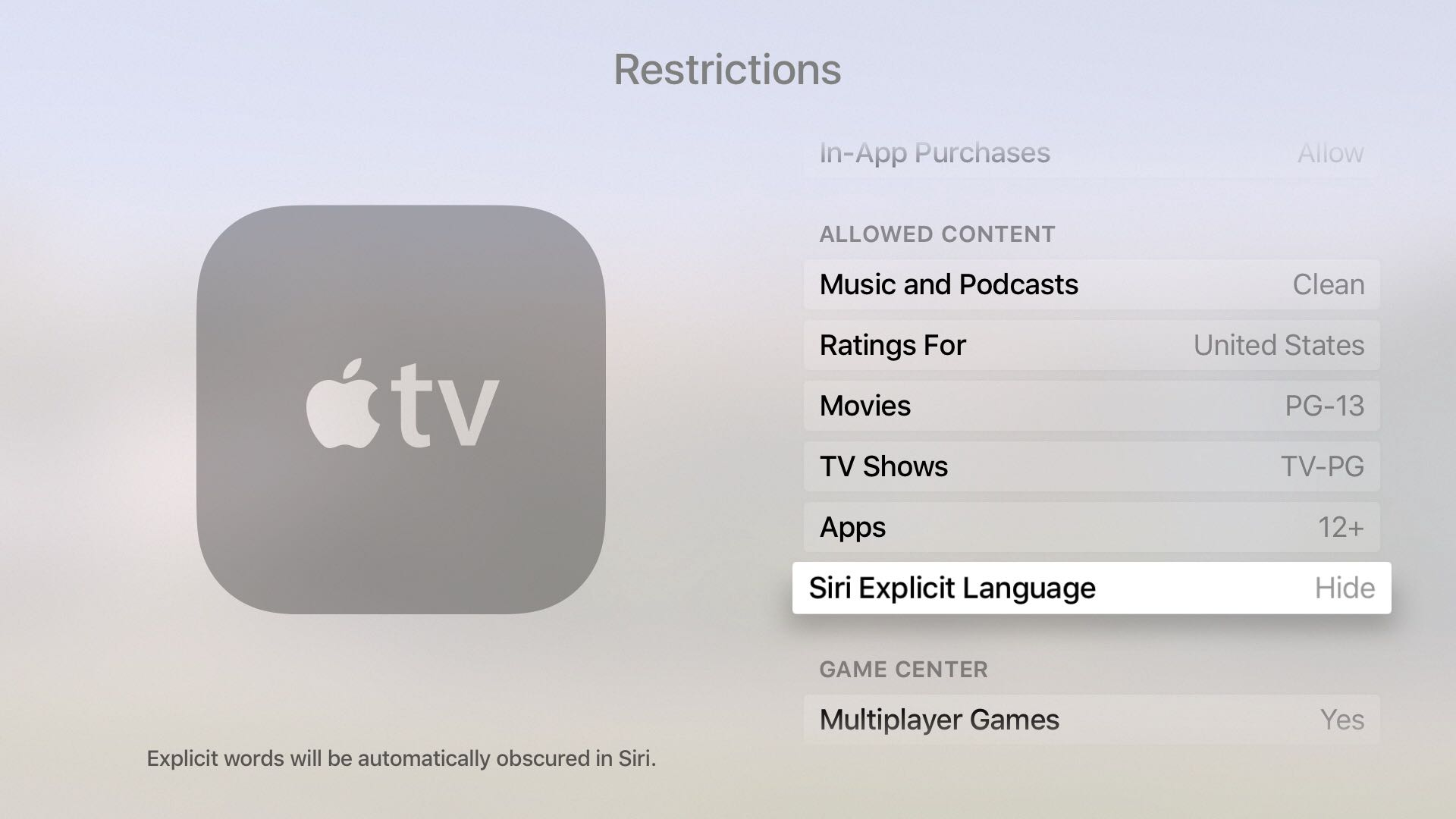tvOS set explicit language