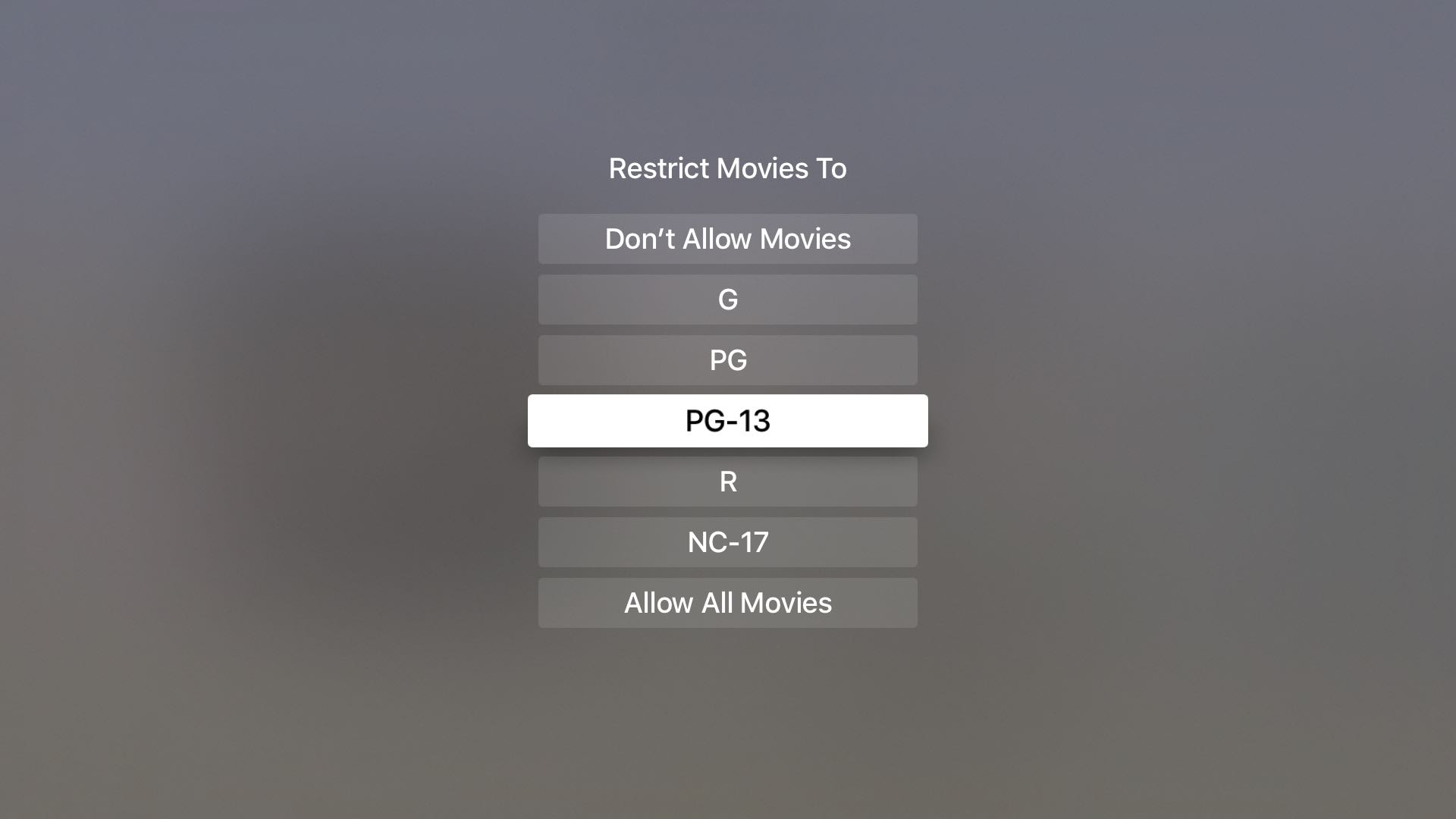 Restrict Movies on Apple TV