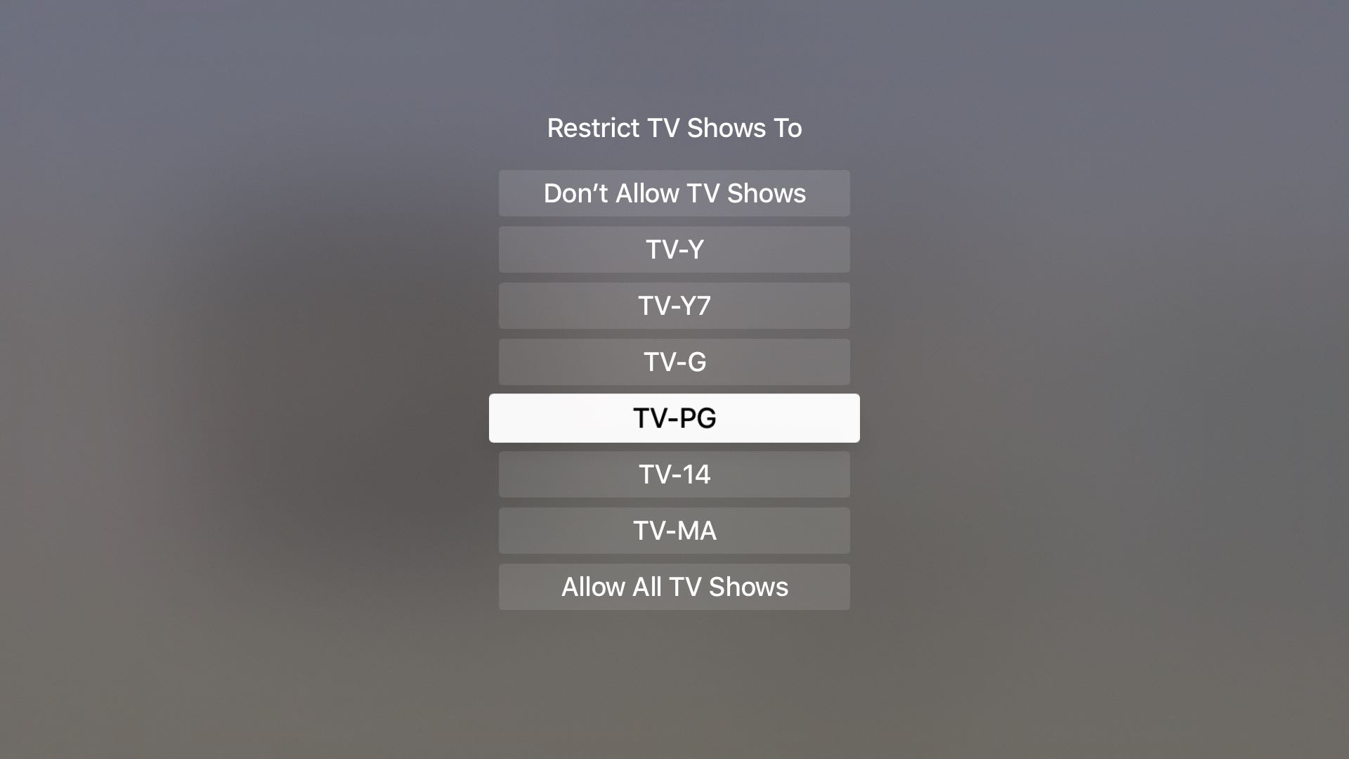 Restrict TV Shows on Apple TV