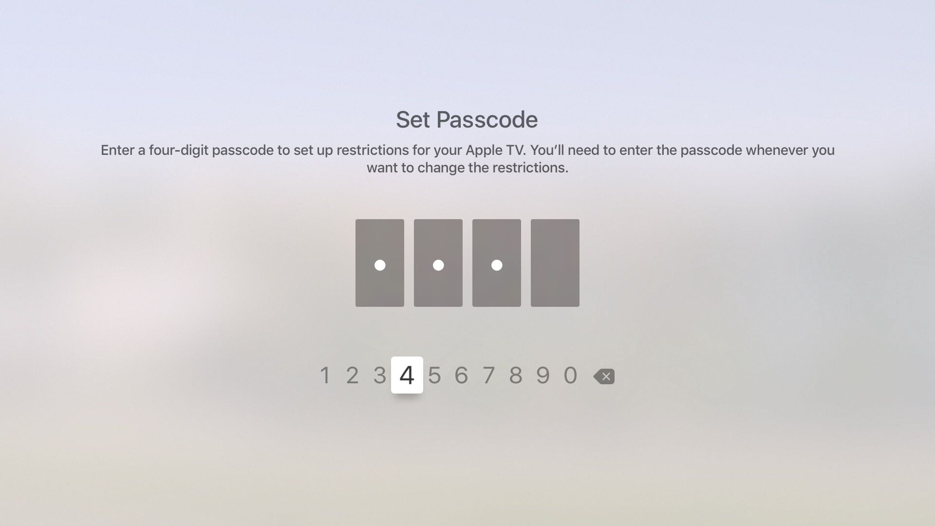 Set tvOS Restrictions passcode