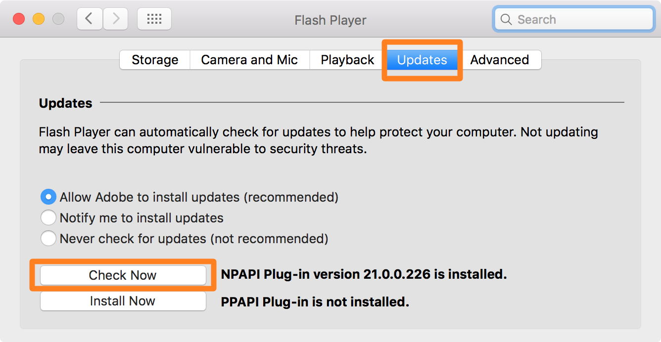 Adobe Flash Player Check for Updates Now
