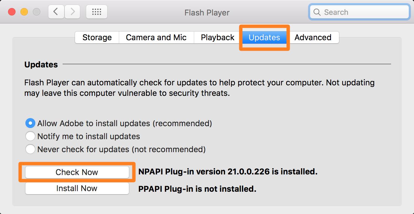 Adobe Flash Player Buscar actualizaciones ahora