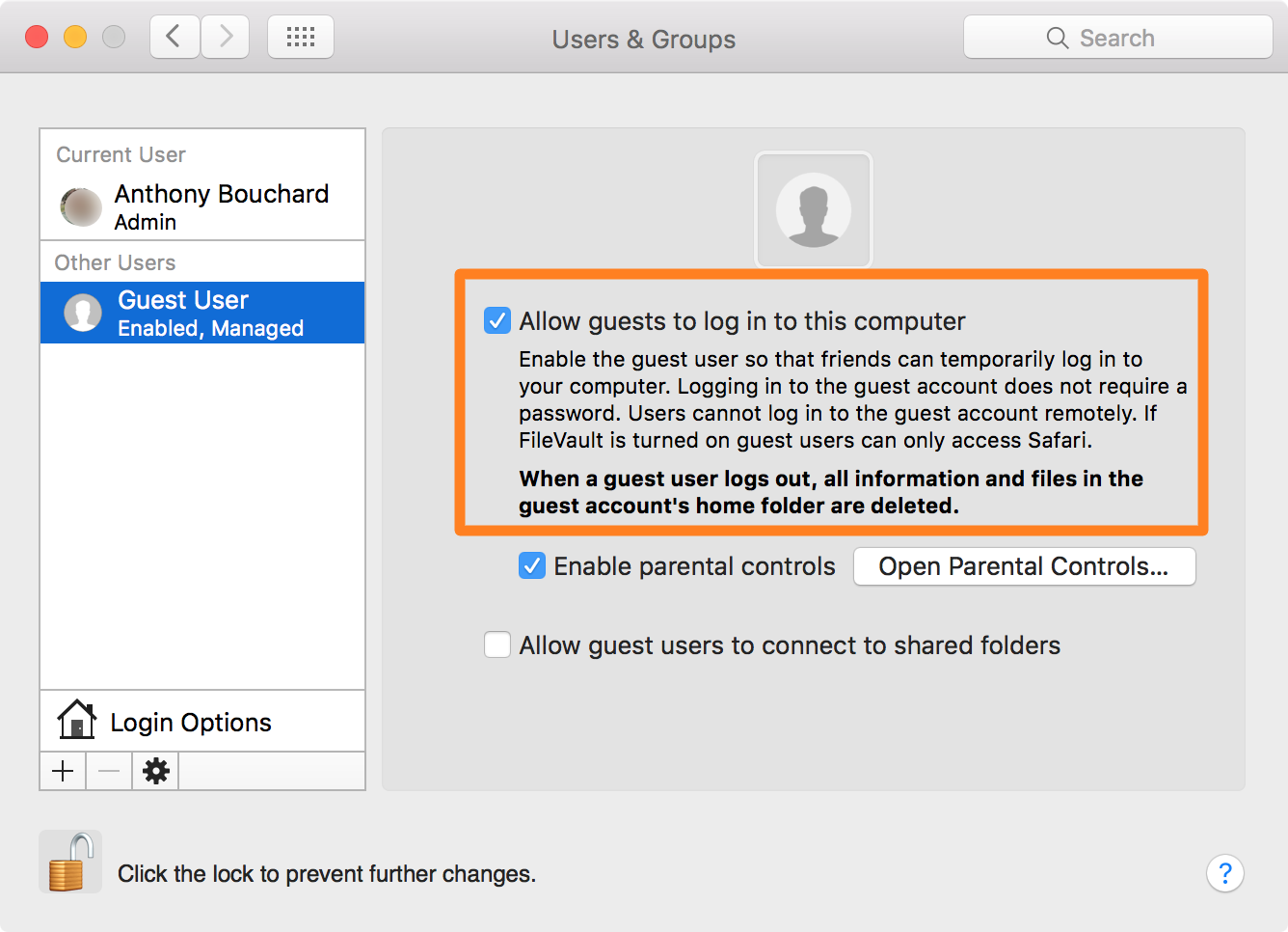 Allow guests to log in to this computer preferences pane mac