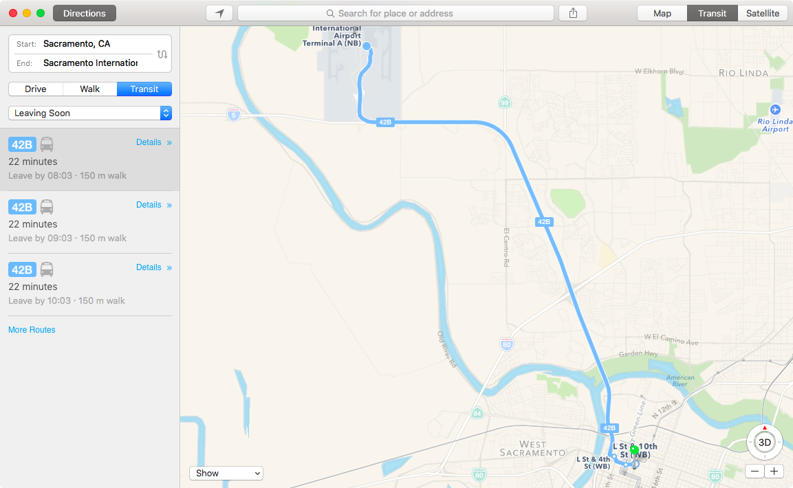 Apple Maps Transit in Sacramento California Mac screenshot 001