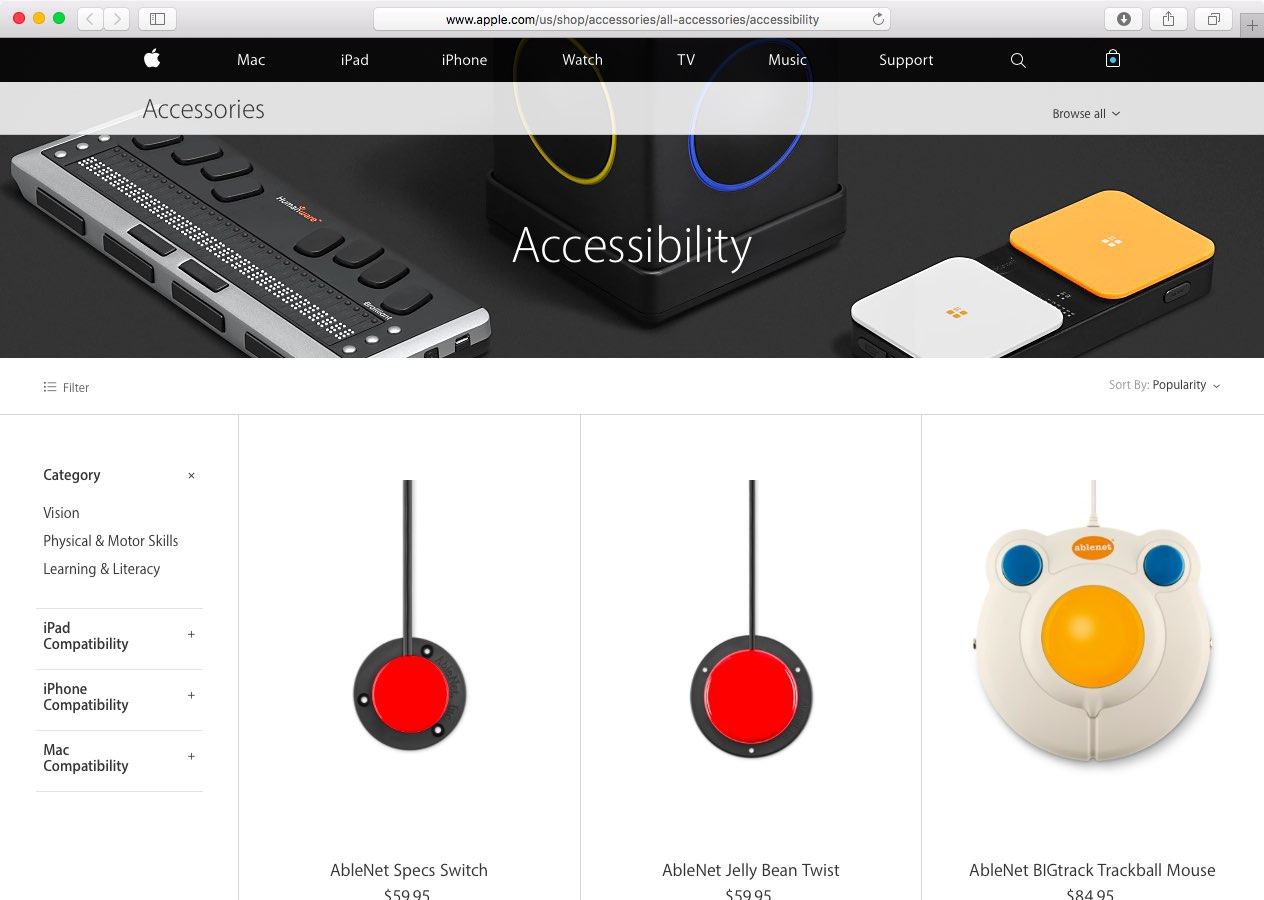 Apple Online Store Accessibility section web screenshot 001