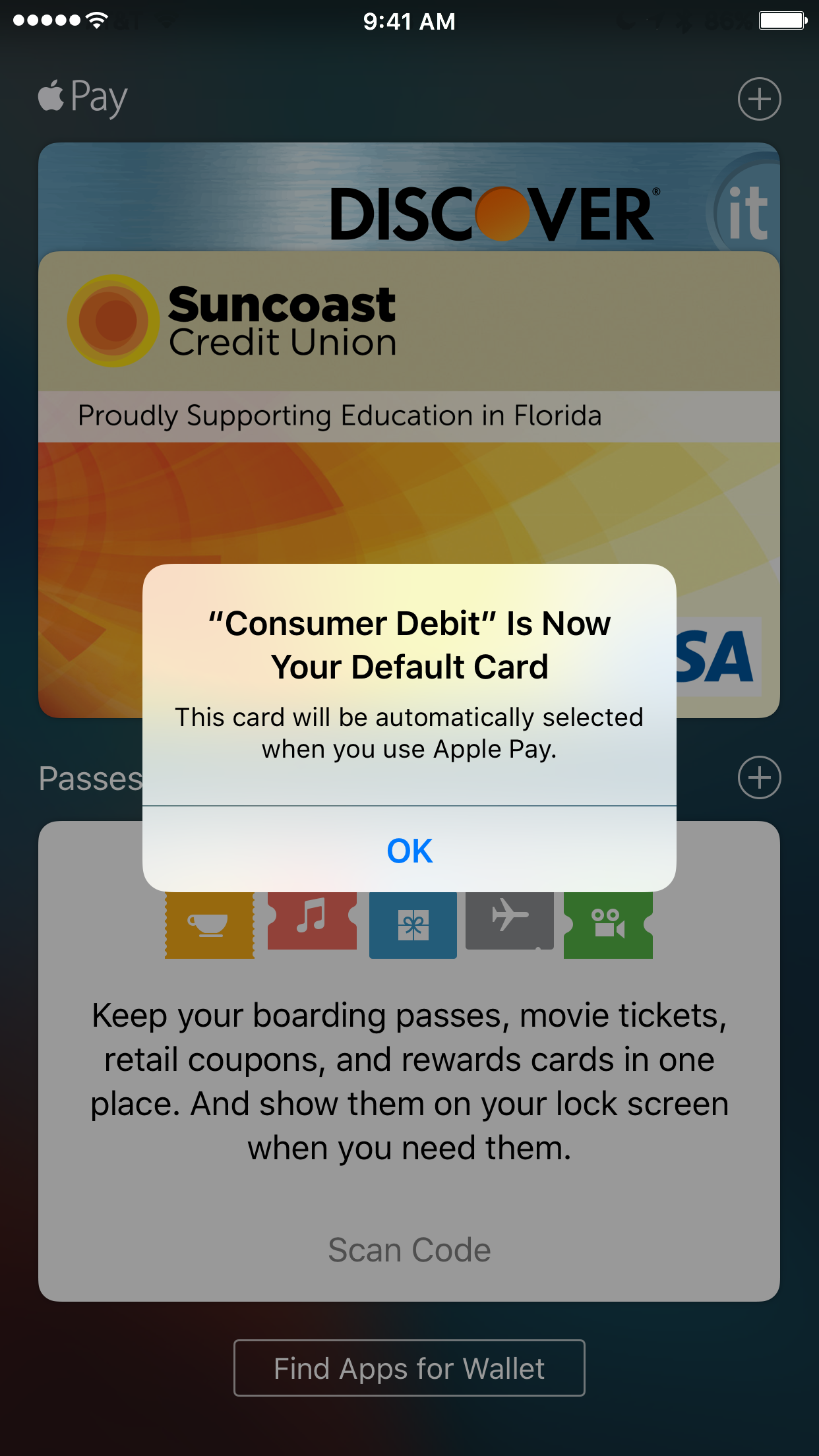 Change Default Credit Card in Apple Pay Wallet app confirmation message iOS