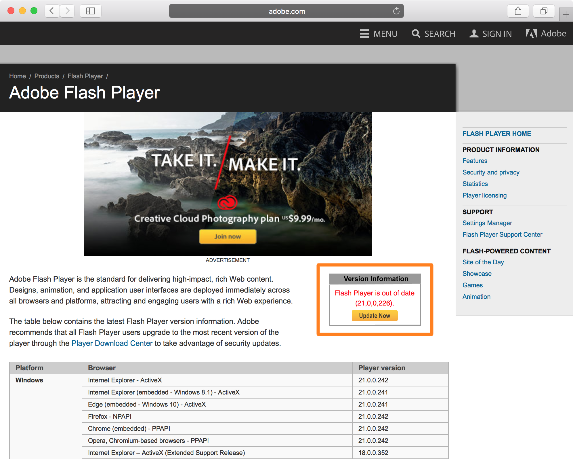 Check Flash Version on Mac Web Browser