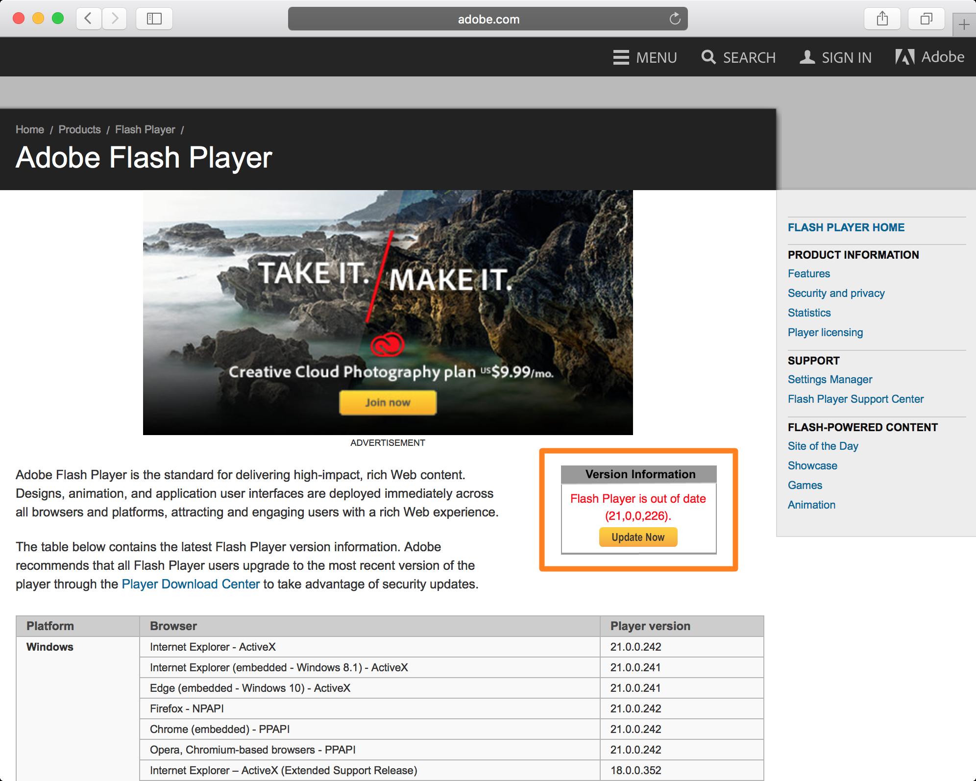 Verifique la versión de Flash en el navegador web Mac
