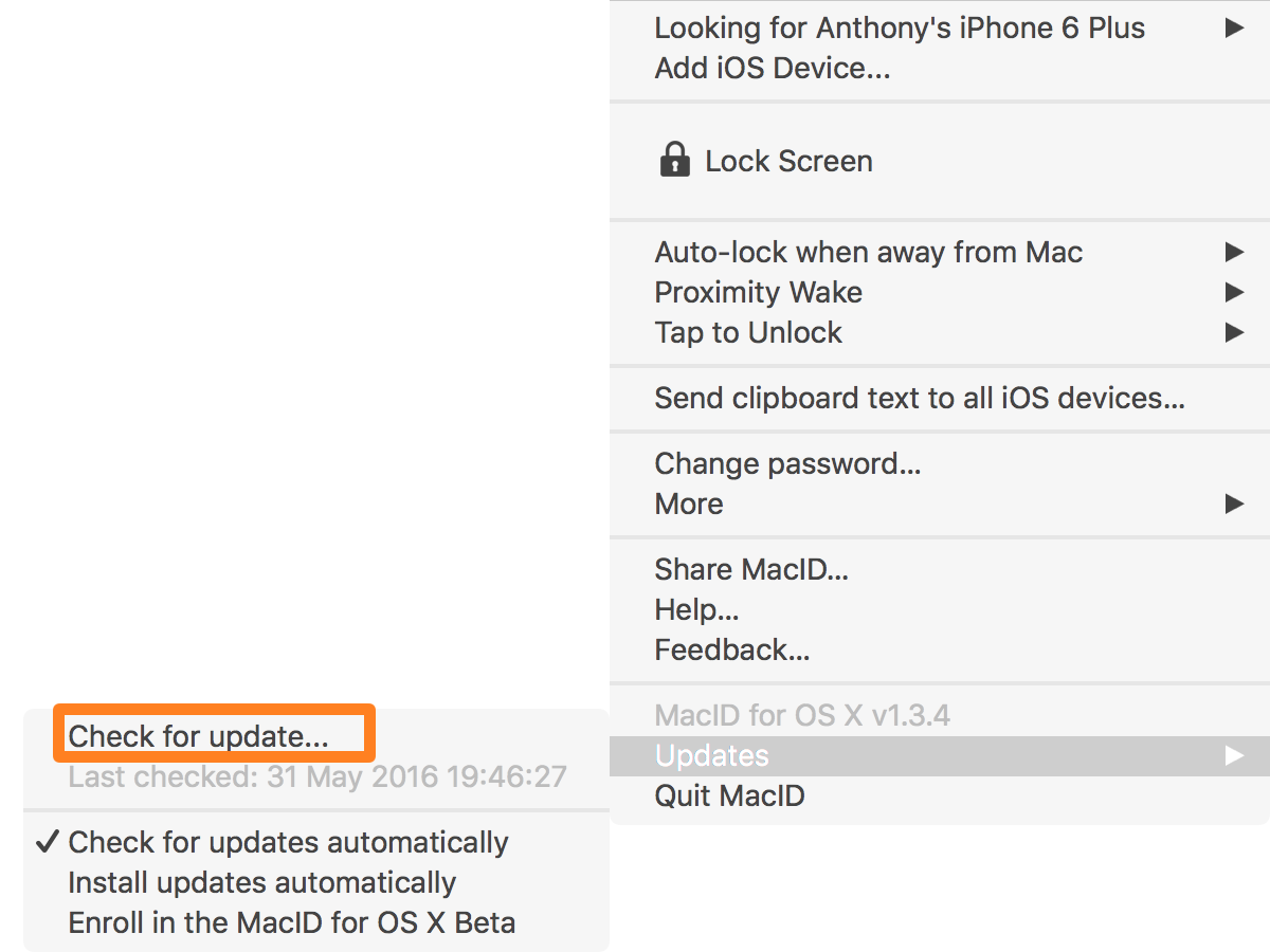 Buscar actualizaciones MacID