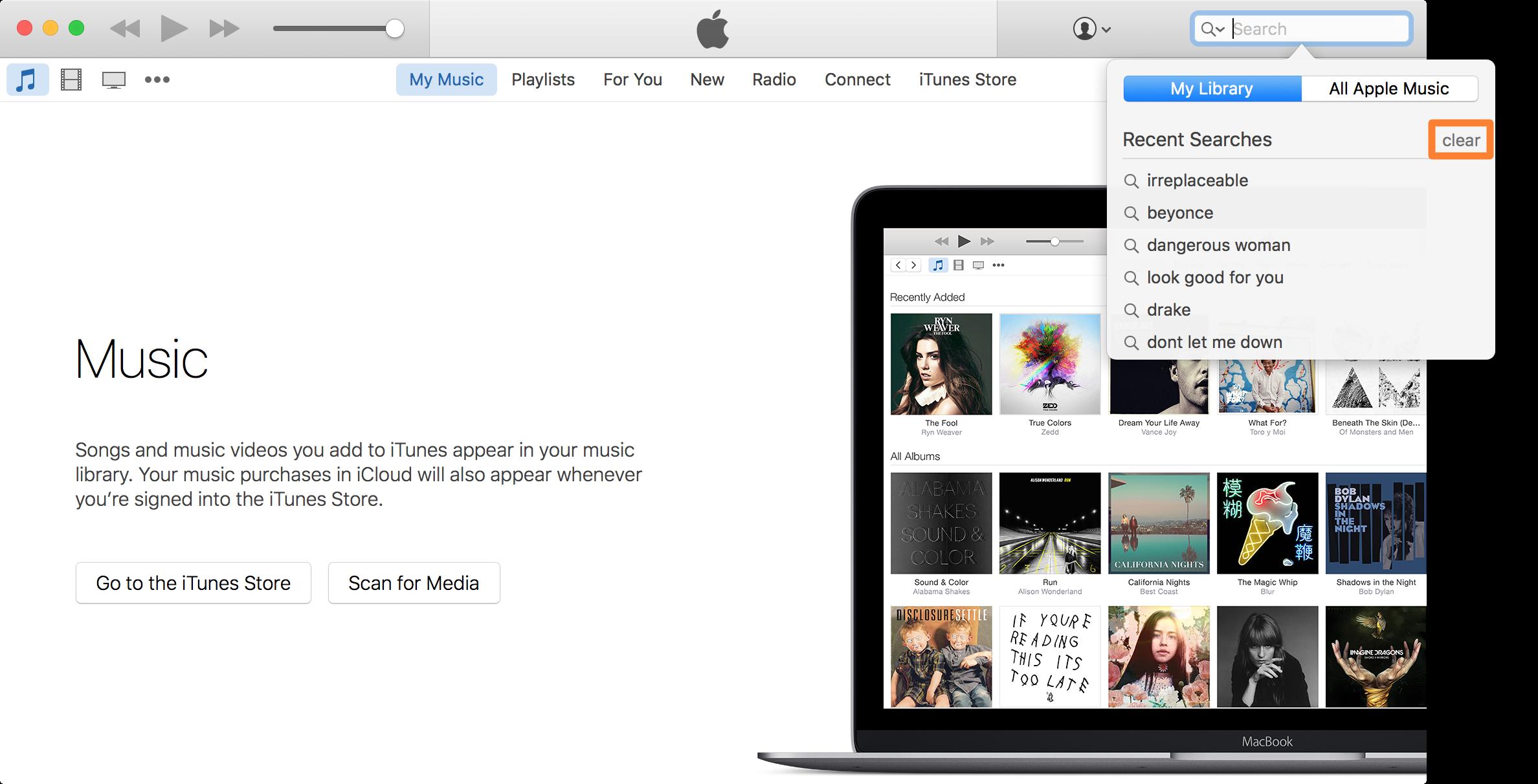 Borrar el historial de búsqueda de Apple Music en Mac 2