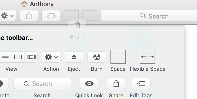 Customize Finder Toolbar in OS X