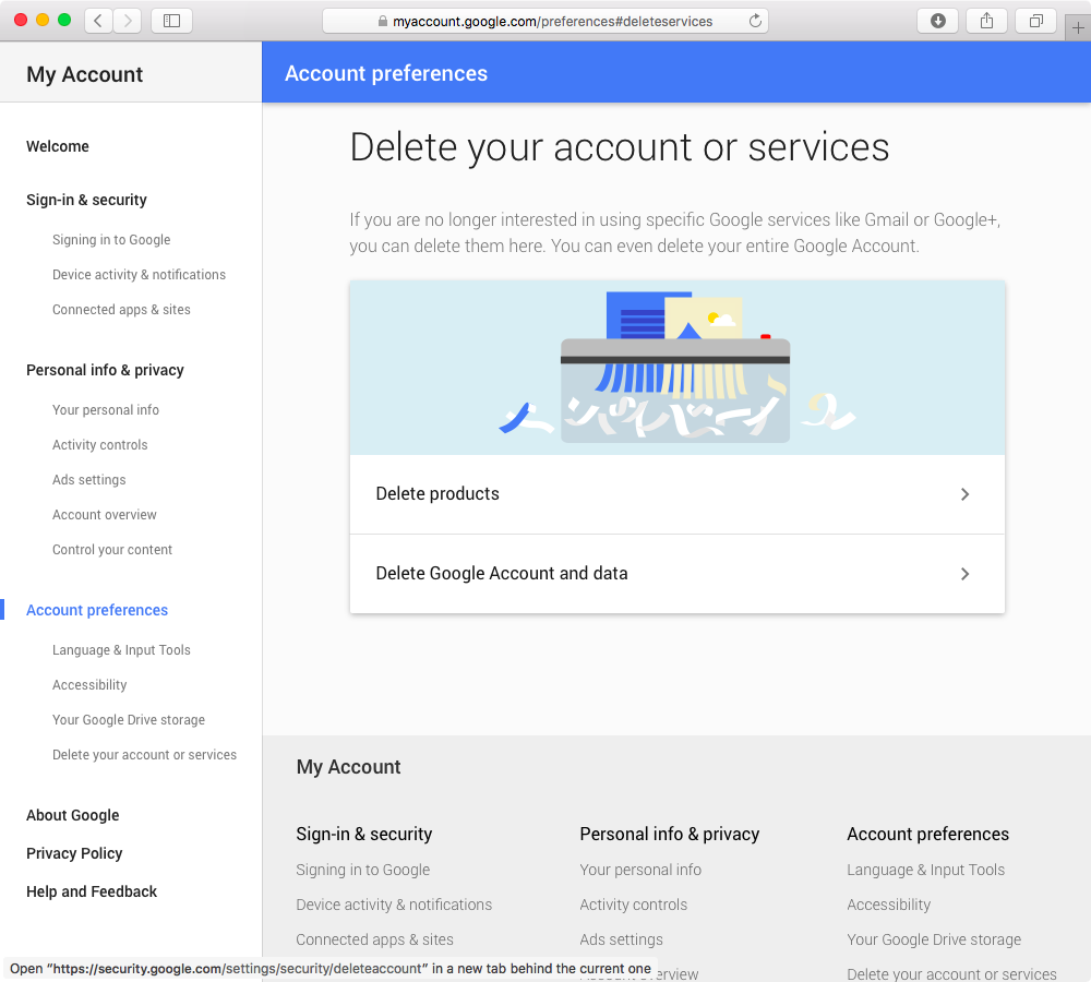Delete Google Account web screenshot 003