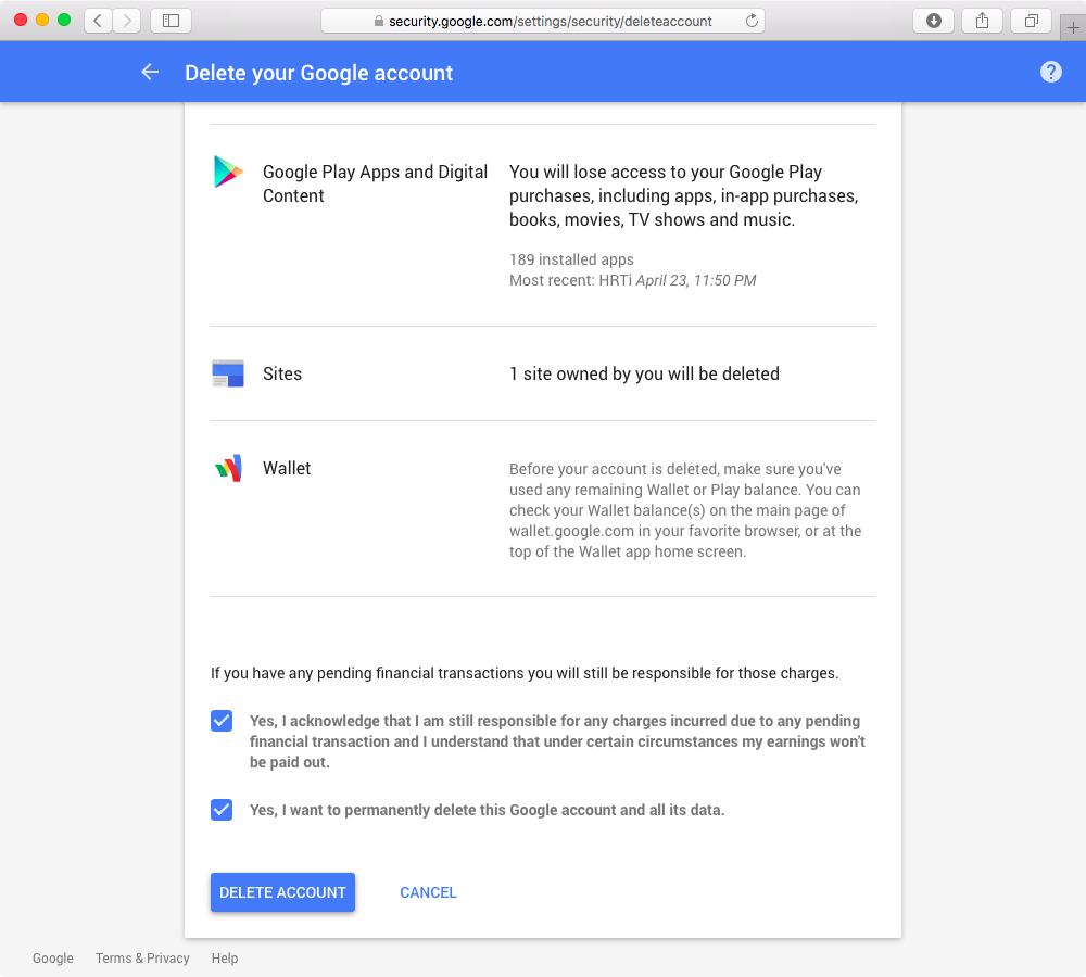 Delete Google Account web screenshot 005