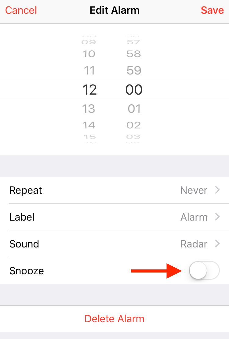 Disable snooze on iPhone