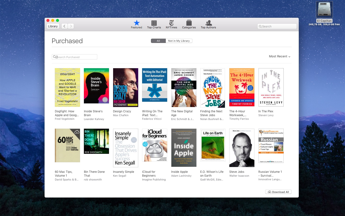 El Capitan iBooks my purchases Mac screenshot 001