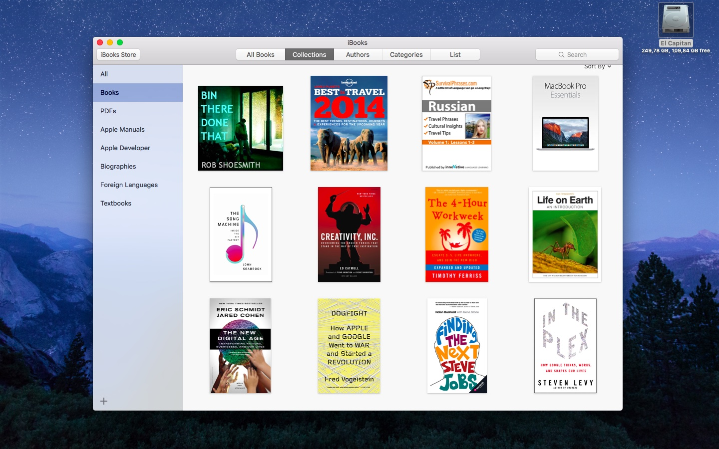 El Capitan iBooks my purchases Mac screenshot 002