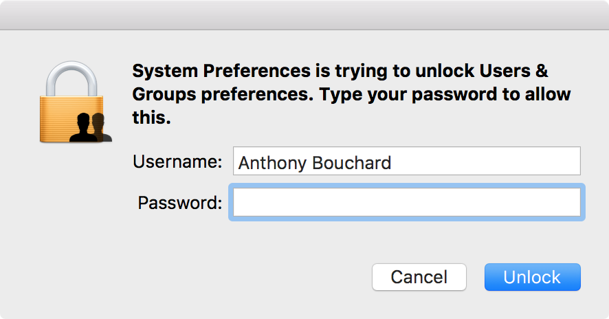 Enter password for new Mac user