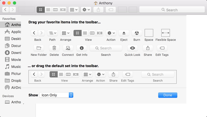 mac Finder Toolbar Editing Interface OS X