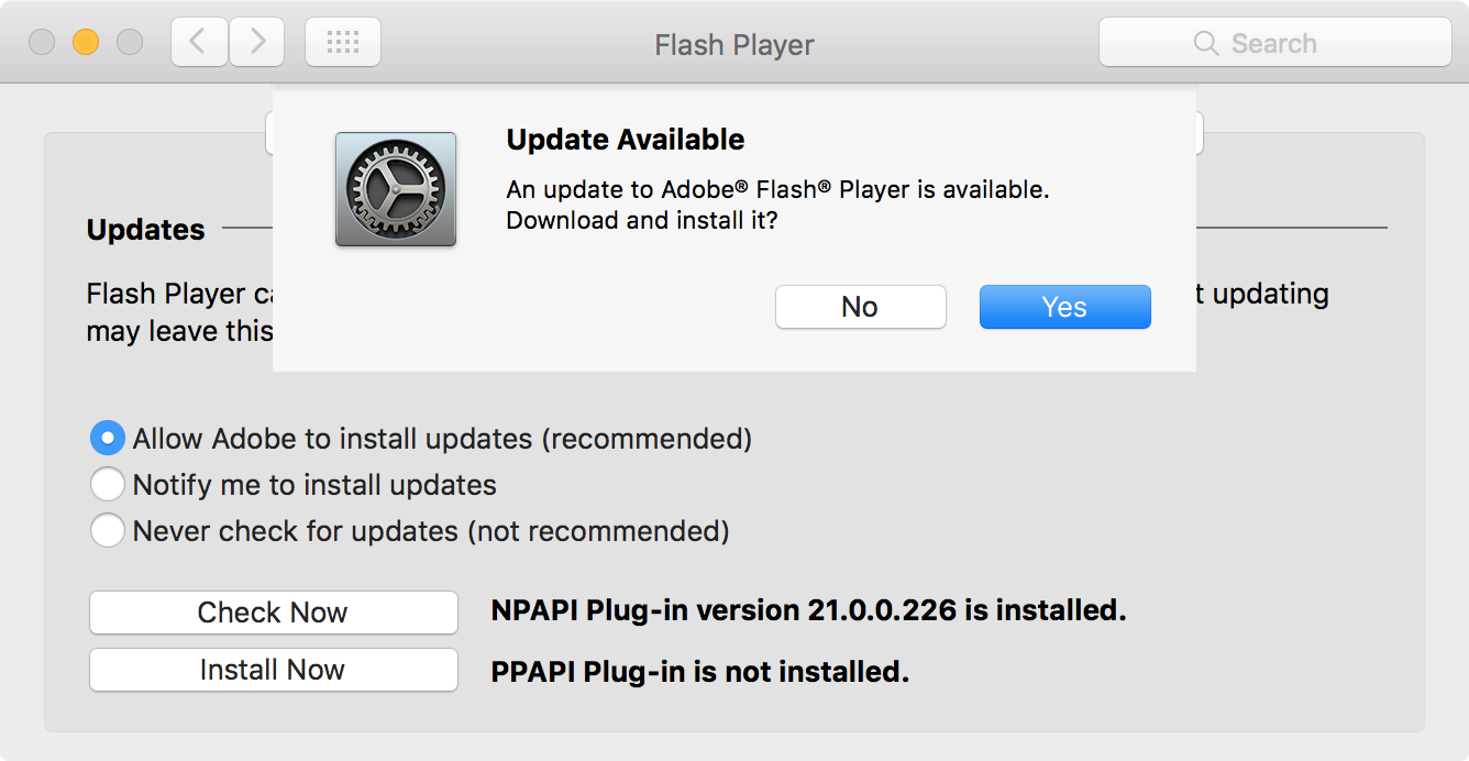 Flash Update on Mac after manual check
