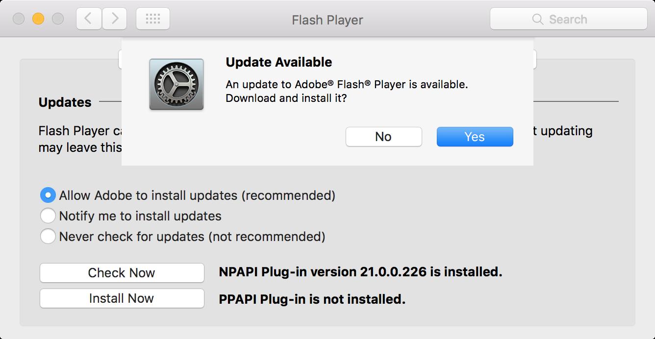Actualización Flash en Mac después de la verificación manual