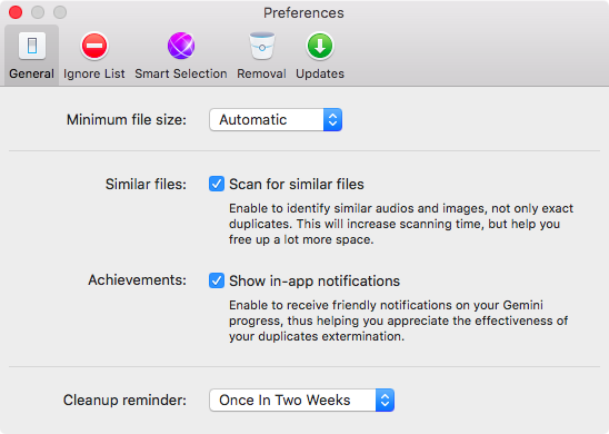 Gemini 2.0 for OS X Settings Mac screenshot 001
