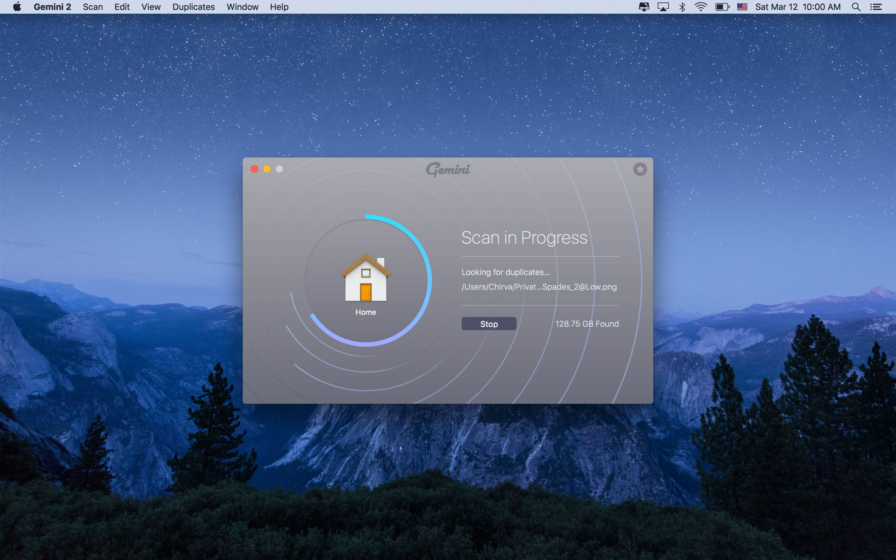Gemini 2.0 for OS X scan in progress Mac screenshot 001