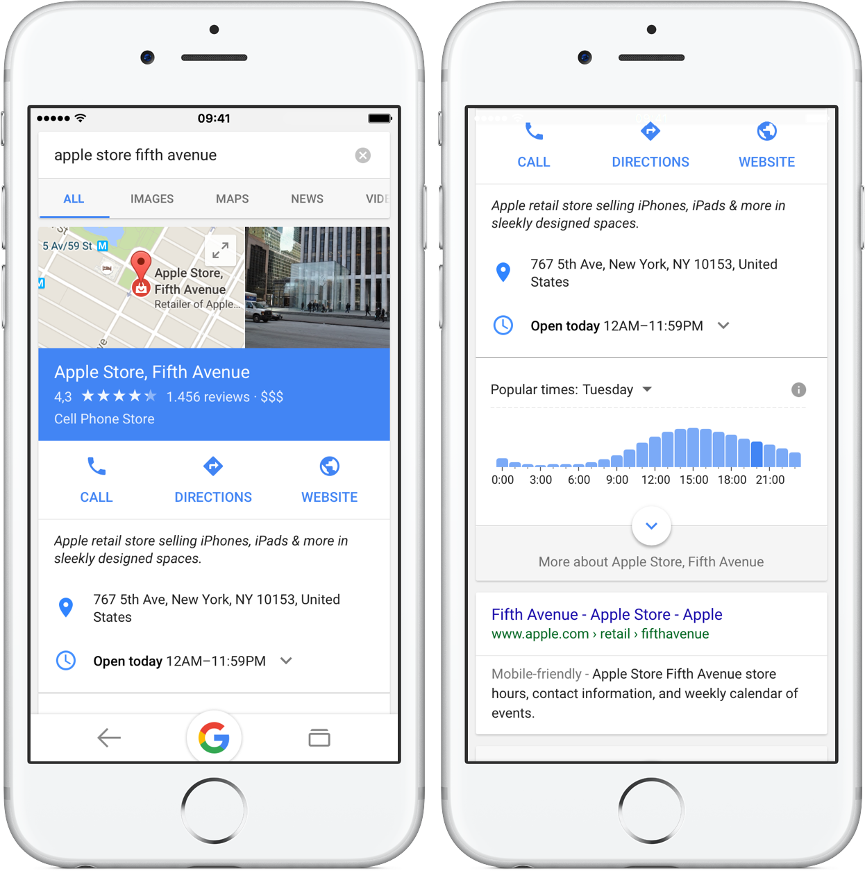 Google 15.0 for iOS busiest hours in search results iPhone screenshot 001