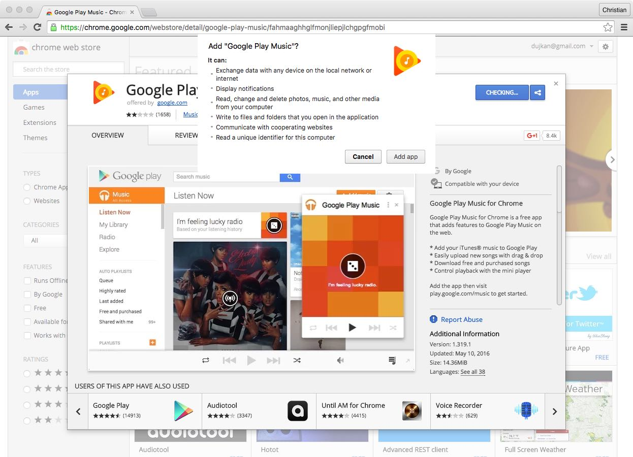 Google Play Music Chrome extension web screenshot 001