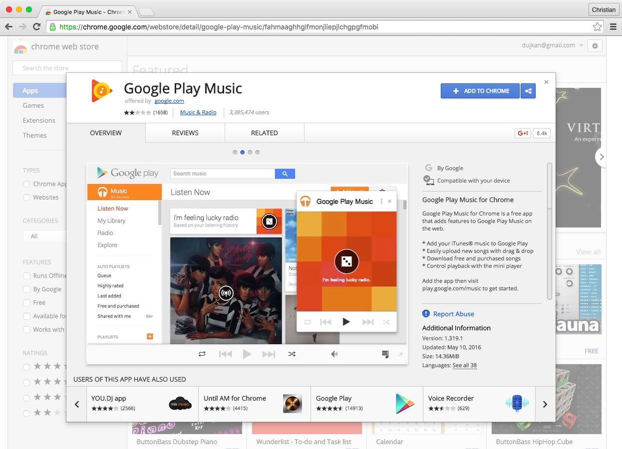 Google Play Music Chrome extension web screenshot 002