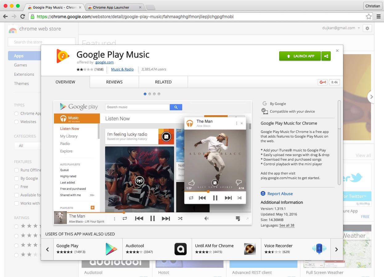 Google Play Music Chrome extension web screenshot 003