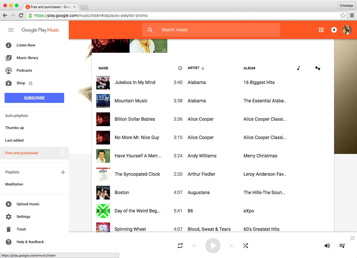 Imagen de la aplicación web Google Play Music 008